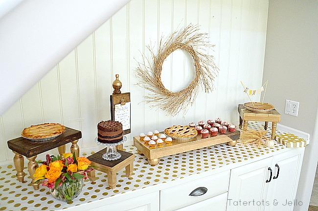 thanksgiving DIY pedestal tables