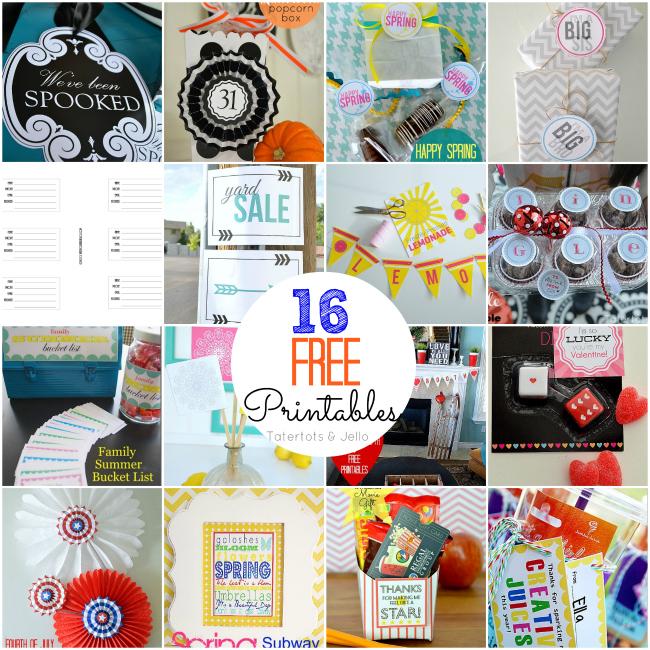 16 free printables at tatertots and jello