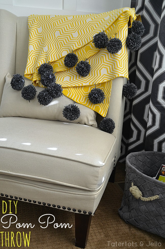 diy pom pom throw at tatertots and jello