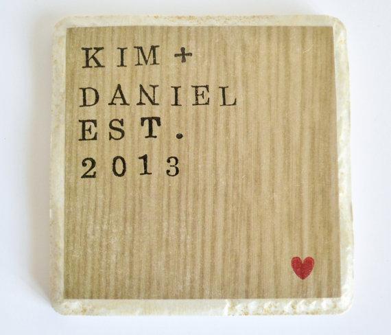 wood wedding date plaque