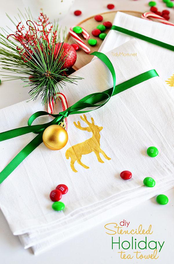 Happy Holidays Diy Stenciled Holiday Tea Towel