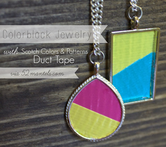colorblock necklace with duct tape 52mantels.com