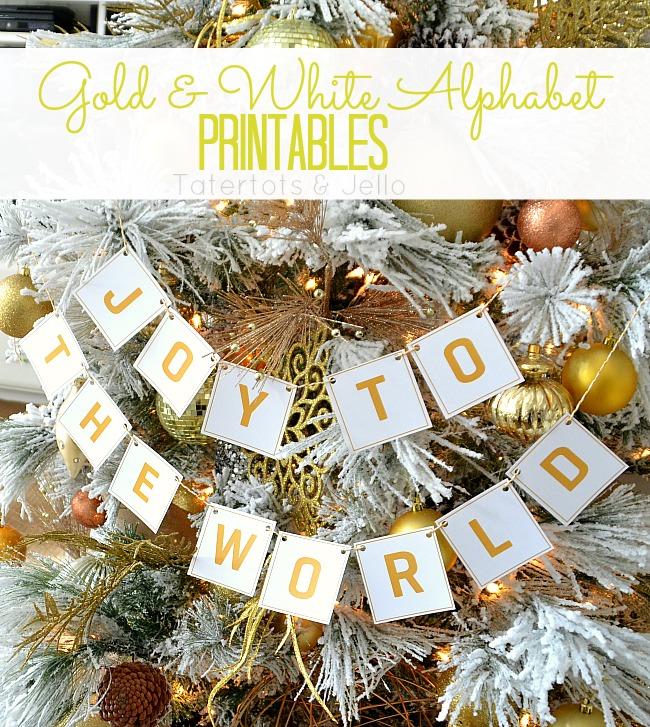 gold and white alphabet printables