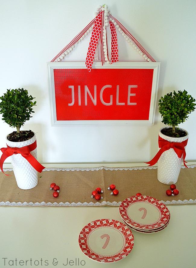 jingle holiday sign at tatertots and jello