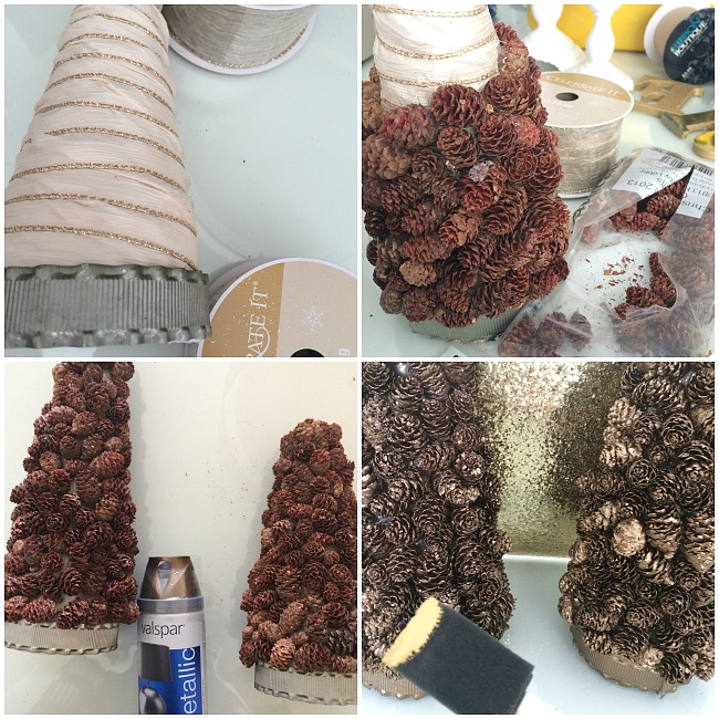 making the pinecone topiary