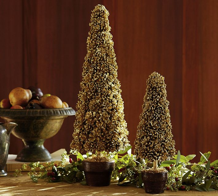 Pottery Barn Inspired Gold Pinecone Topiaries
