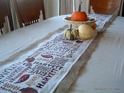 subway art burlap table runner for thanksgiving-12