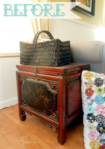 Stenciled Side Table Makeover Before