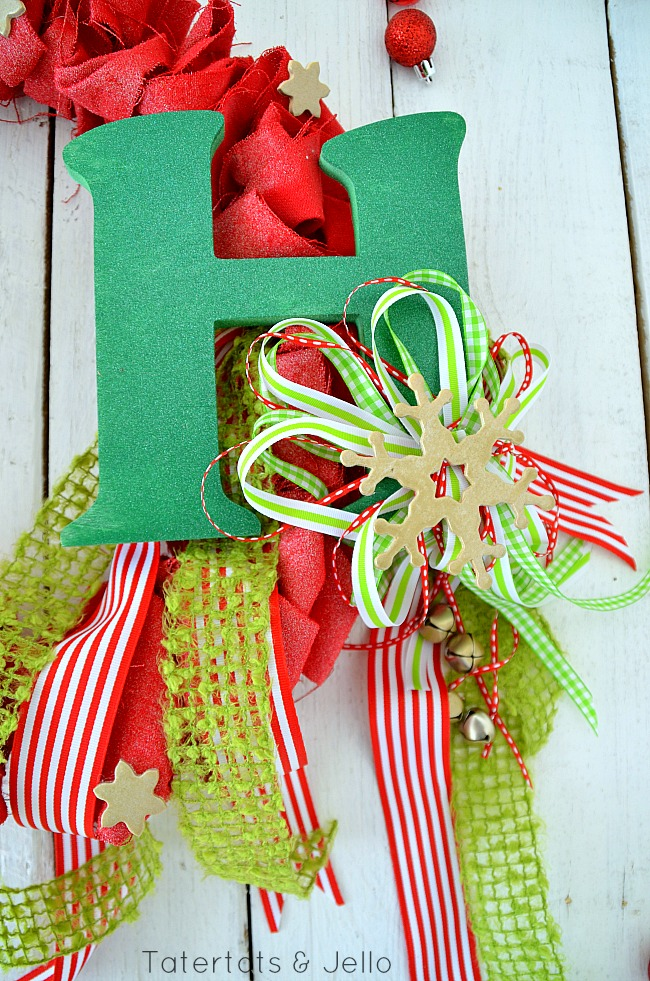 canvas ruffle wreath monogram and bow