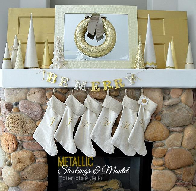 metallic stockings and mantel at tatertots and jello tutorial