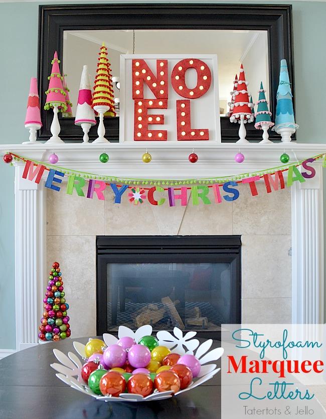 Colorful DIY Marquee Mantel
