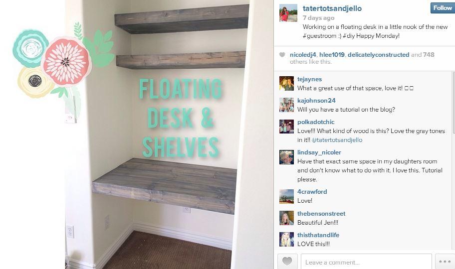 floating shelves and desk