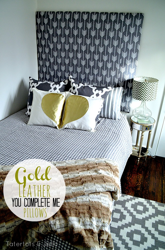 gold leather heart pillow set
