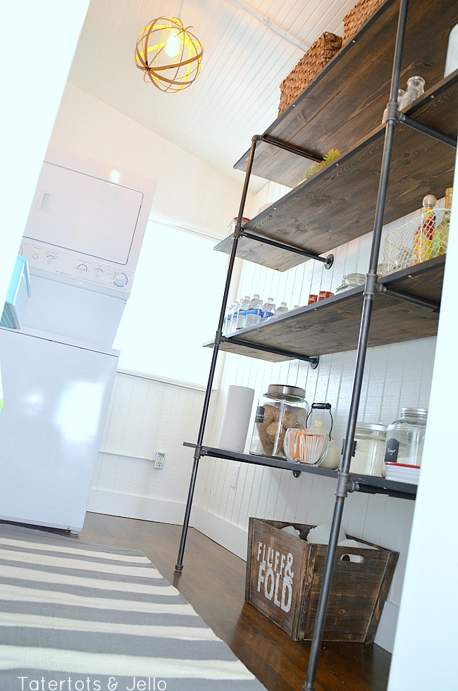 industrial shelves for a pantry