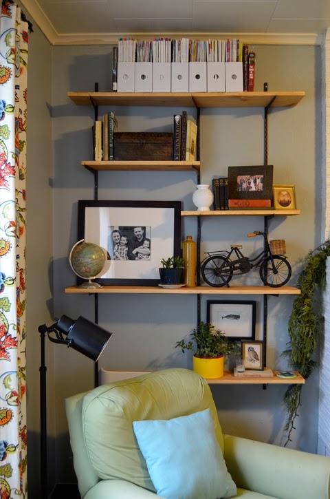industrial shelves living room