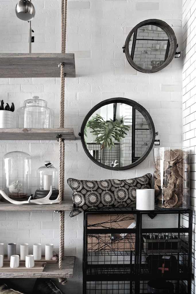 industrial shelves with rope