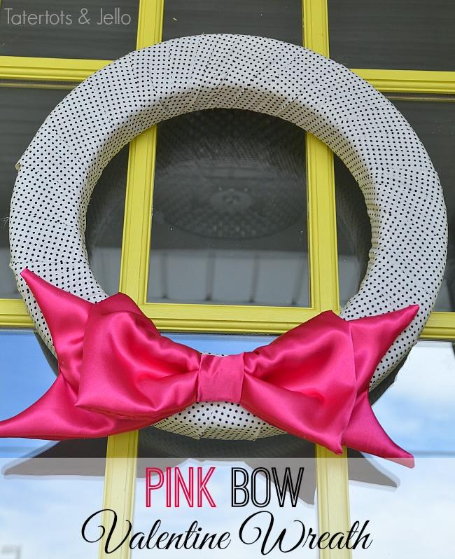 pink satin valentine bow wreath