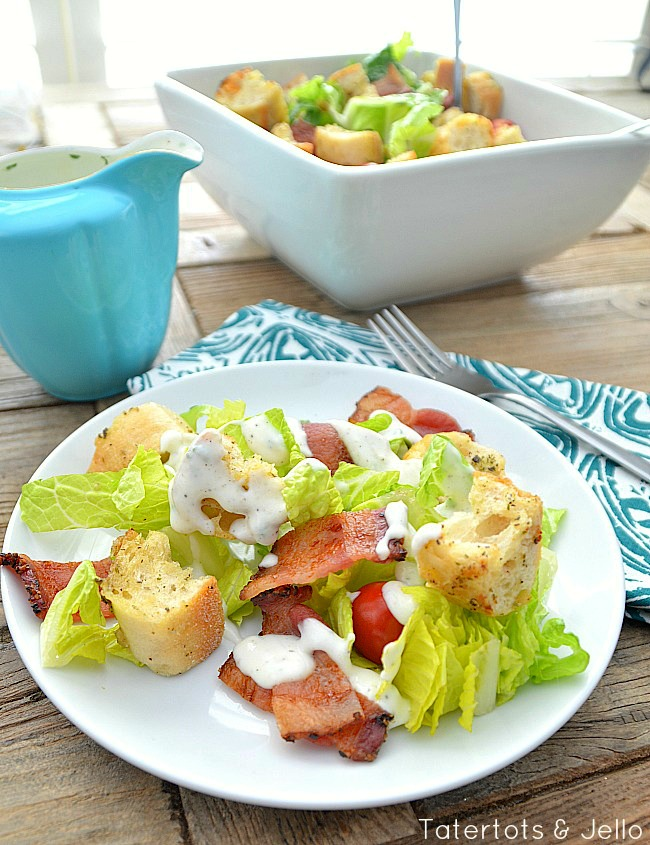 blt salad with homemade ranch dressing at tatertots and jello