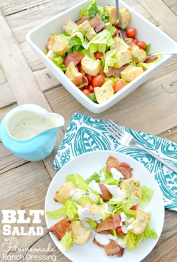 BLT Salad Recipe with Homemade Buttermilk Ranch Dressing