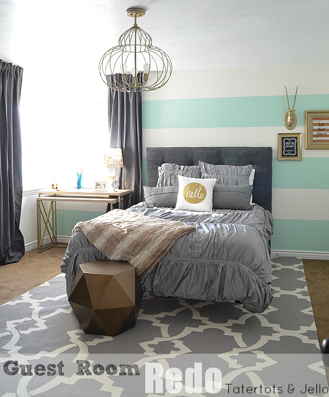guest room bedroom with stripes