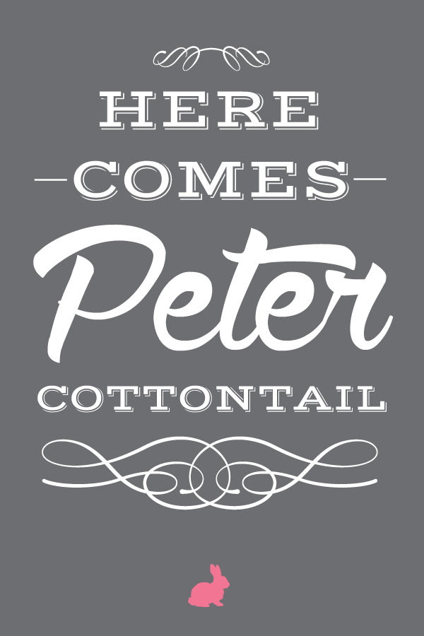 here.comes.peter.cottontail.20x30.gray.pink.bunny