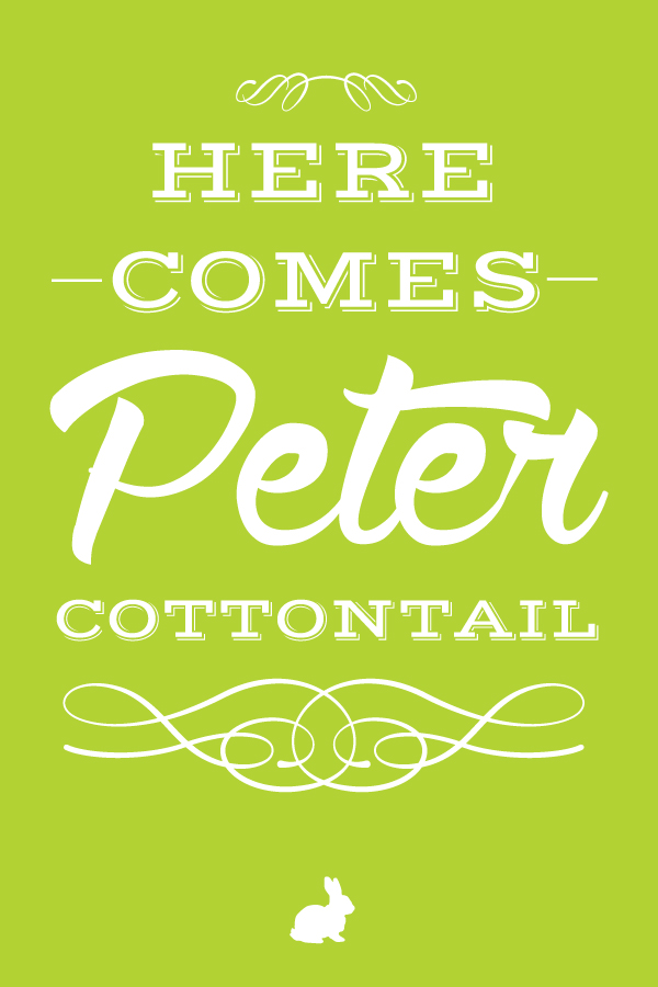 here.comes.peter.cottontail.20x30.green.small