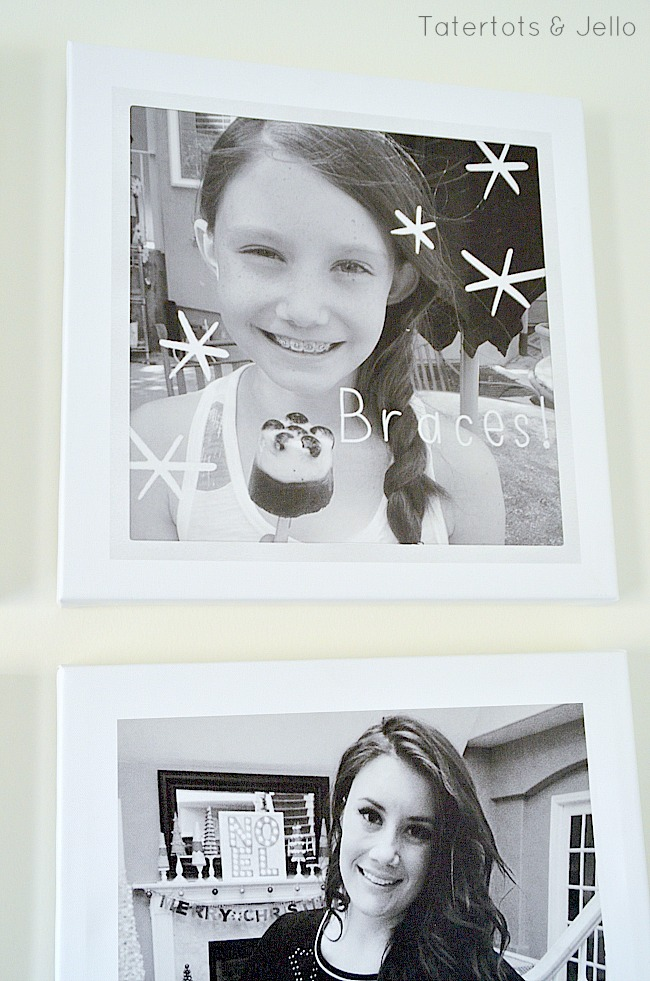 instagram pictures on canvases at tatertots and jello