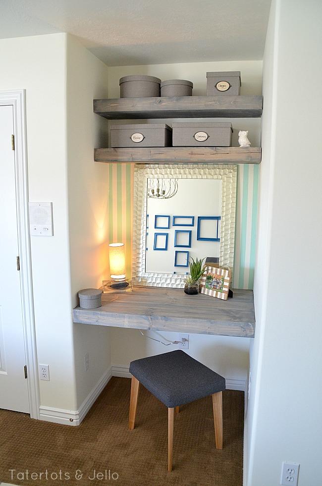 diy floating desk and shelves for a bedroom. Black Bedroom Furniture Sets. Home Design Ideas