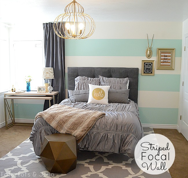 striped wall guest bedroom reveal tatertots and jello