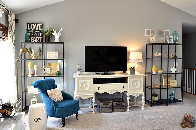 Family Room decor with Ikea VITTSJO bookcases at TidyMom.net