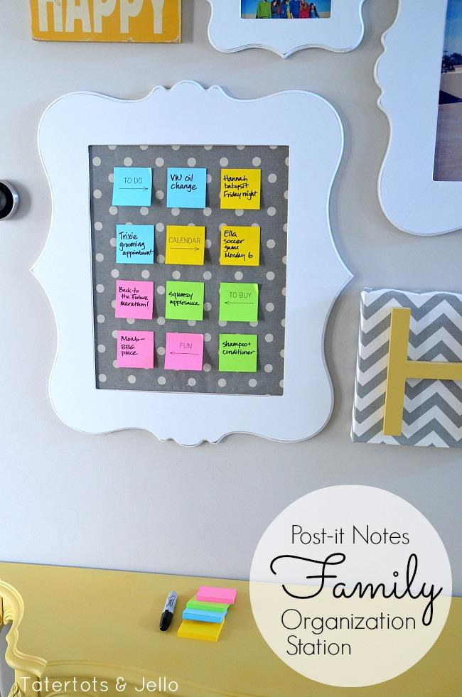 post it notes family organization station tutorial