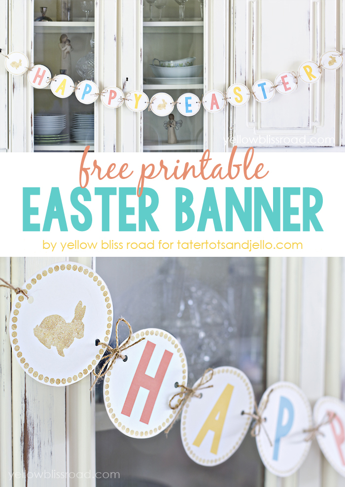 Free Printable Happy Easter Banner!! Celebrate Easter with this free, printable banner. Simply print, cut out and enjoy!
