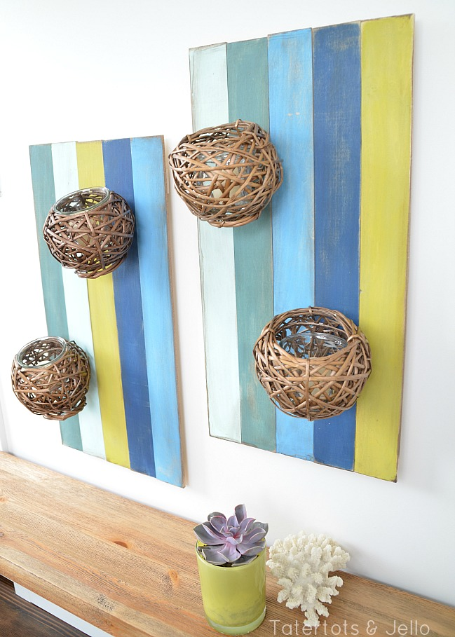 submerged color wood slat wall sconces DIY tutorial