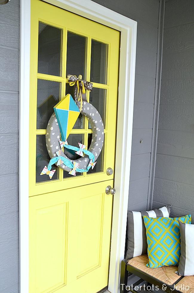 wood kite spring wreath at tatertots and jello