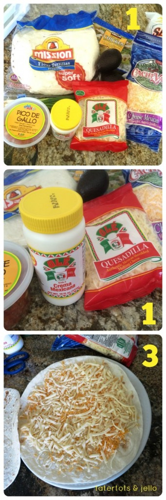 quesadilla steps 1 and 3