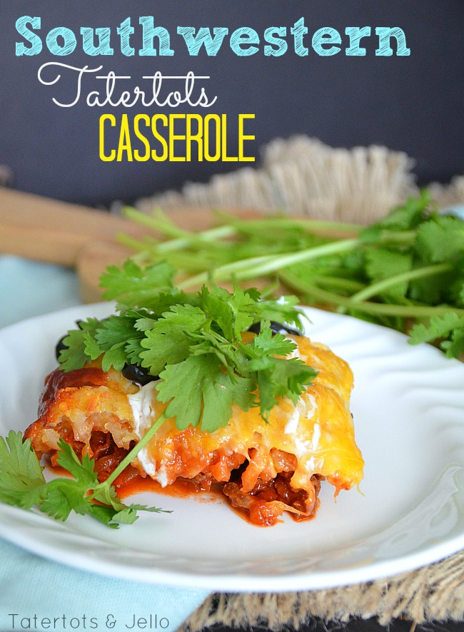 Easy and delicious southwestern tatertots casserole. a family taste pleaser!
