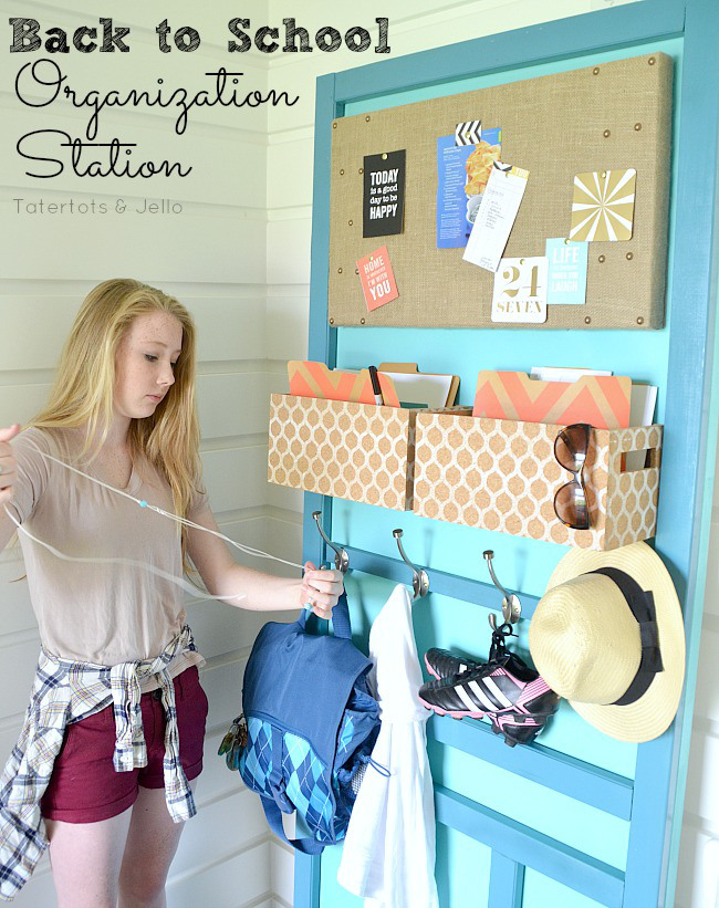 DIY Stand Alone Organization station out of a door.