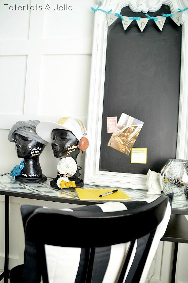 chalkboard hat display at tatertots and jello