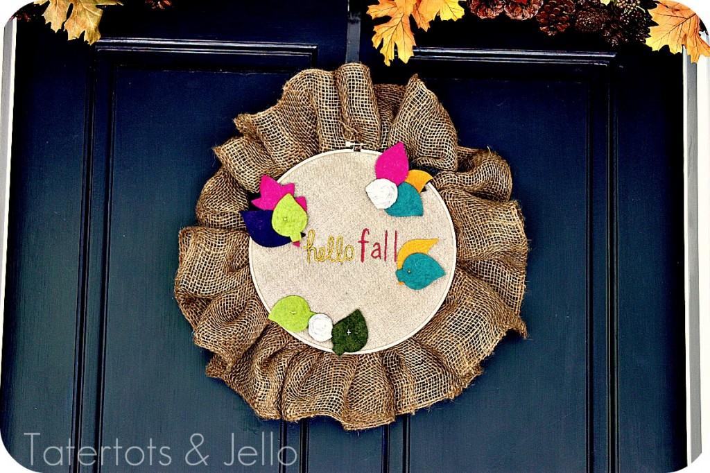 fall embroidery hoop wreath