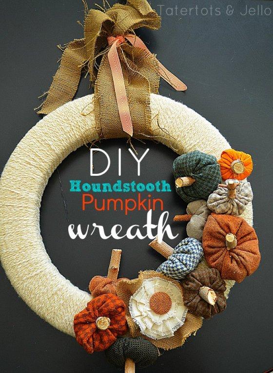 fall houndstooth pumpkin wreath