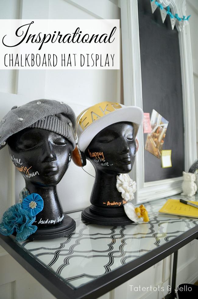 inspirational chalkboard hat display at tatertots and jello