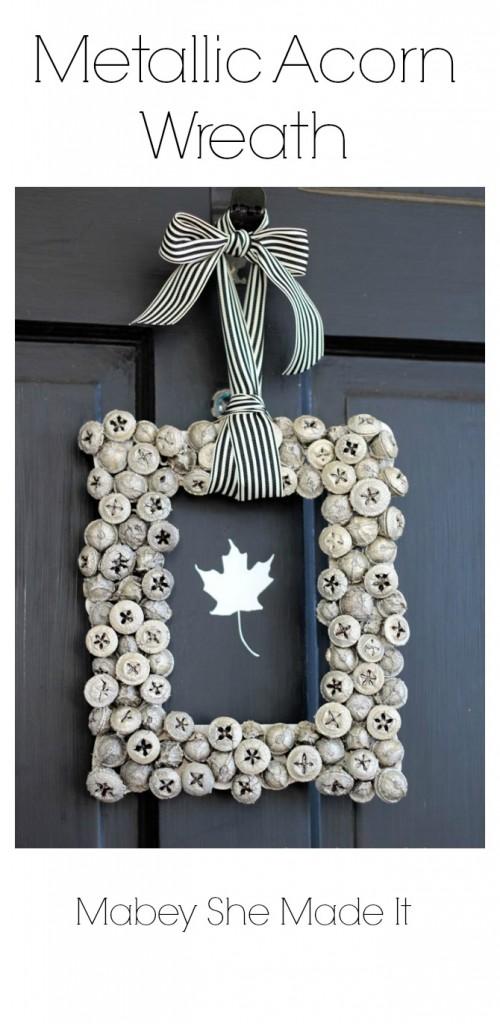metallic acorn wreath