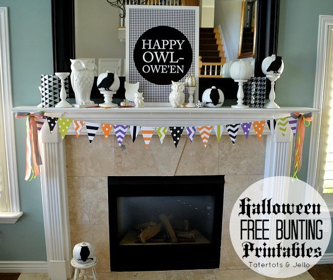 Free Halloween Bunting Printables at Tatertots and Jello