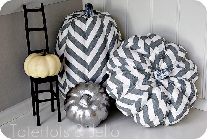 chevron decoupaged pumpkins