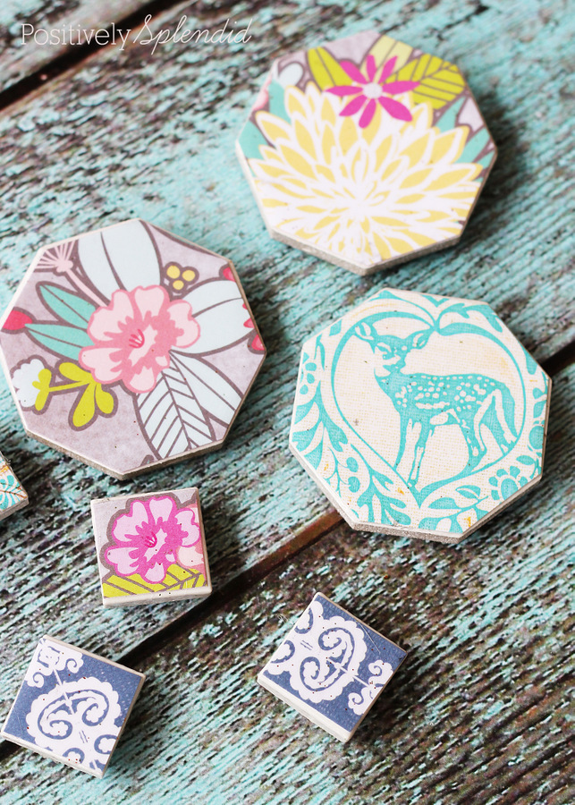 DIY Decoupaged Magnets and 1 month of free craft ideas to make with your kids with amazon links.