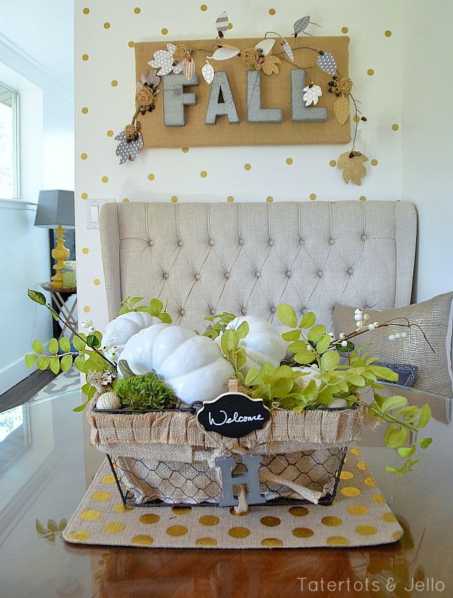 fall centerpiece white pumpkins tatertots and jello