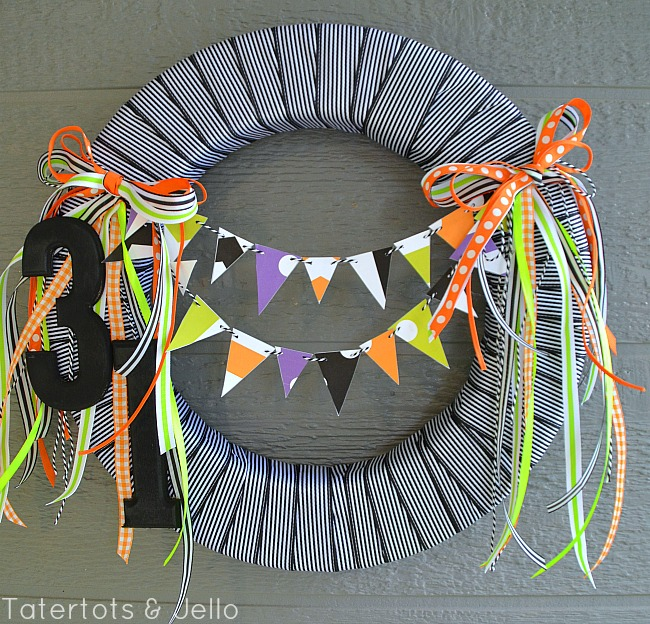 printable bunting wreath halloween at tatertots and jello