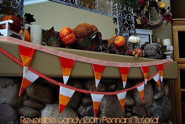 reversible candy corn pennant