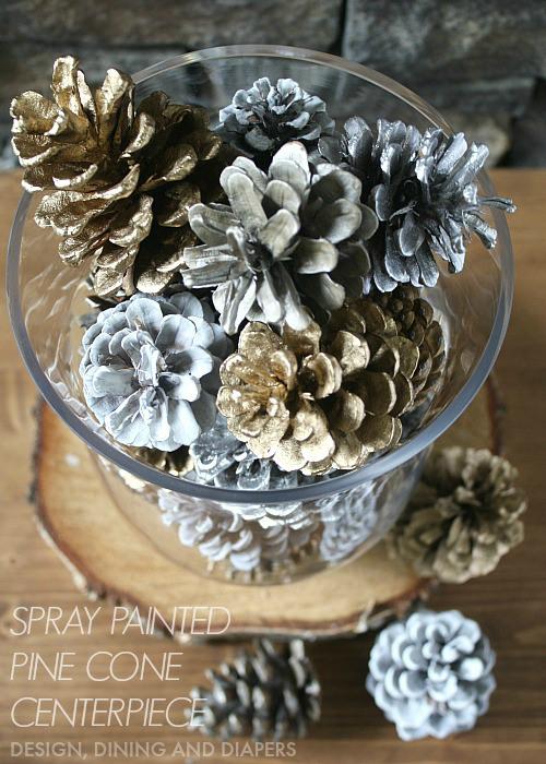 Easy-Spray-Painted-Pine-Cone-Centerpiece