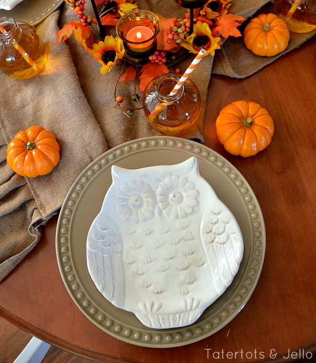 better homes and garden owl plates fall tablescape